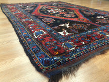 "Load image into Gallery viewer, Terrific Tribal - 1900s Antique Kurdish Rug - Persian Carpet - 4'5"" x 6'3"" ft."