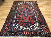 "Load image into Gallery viewer, Handsome Hamadan - 1940s Antique Persian Rug - Tribal Carpet - 4'4"" x 6'11"" ft."