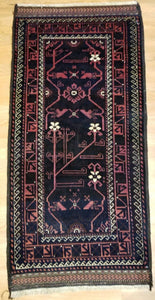 "Beautiful Balouch - 1940s Antique Persian Rug - Tribal Carpet - 2'8"" x 5'4"" ft."