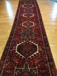 "Handsome Heriz - 1940s Antique Persian Runner - Tribal Rug - 3'2"" x 14'2"" ft."