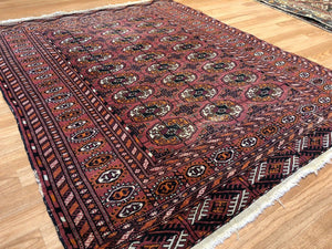 "Vintage Pakistani Rug - Tribal Oriental Carpet - 4'1"" x 5' ft 102640"