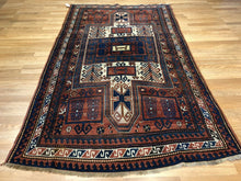 "Load image into Gallery viewer, Beautiful Bordjalou - 1890s Antique Kazak Rug - Tribal Carpet - 4'6"" x 7'7"" ft."