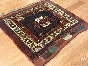 "Jovial Jaff - 1900s Antique Kurdish Tribal Rug - Bag Face Carpet -1'8"" x 1'9"" ft."