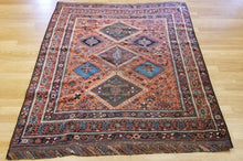 "Load image into Gallery viewer, Classic Caucasian - 1890s Antique Kazak Rug - Tribal Carpet - 4'3"" x 5'7"" ft."
