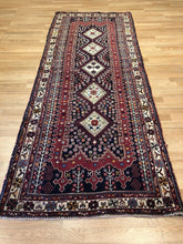 "Load image into Gallery viewer, Special Shiraz - 1940s Antique Persian Rug - Tribal Runner - 3'5"" x 8'7"" ft."