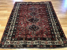 "Load image into Gallery viewer, Special Shiraz - 1940s Antique Persian Rug - Tribal Carpet - 4'6"" x 5'7"" ft."