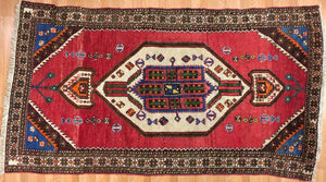 "Terrific Tribal - 1940s Antique Kurdish Rug - Persian Carpet - 4'4"" x 8'1"" ft."