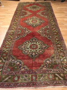 Tremendous Turkish - 1940s Antique Oushak Rug - Tribal Runner - 5' x 12' ft.