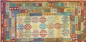 "Crisp Colorful - New Kilim Rug - Flatweave Tribal Carpet - 6'5"" x 10' ft."