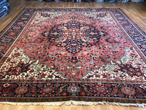 "Handsome Heriz - 1920s Antique Persian Rug - Tribal Square Carpet - 10'3"" x 10'7"" ft."