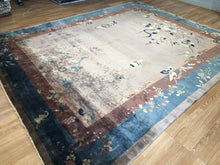 "Load image into Gallery viewer, Natural Nichols - 1920s Antique Mandarin Rug - Art Deco Chinese - 9'2"" x 11'2"" ft."