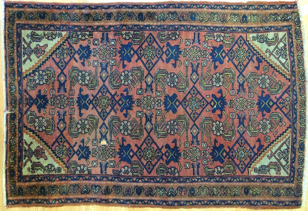 "Marvelous Mahal - 1900s Antique Persian Rug - Herati Carpet - 2'8"" x 4'1"" ft."