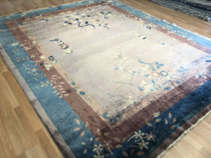 "Natural Nichols - 1920s Antique Mandarin Rug - Art Deco Chinese - 9'2"" x 11'2"" ft."