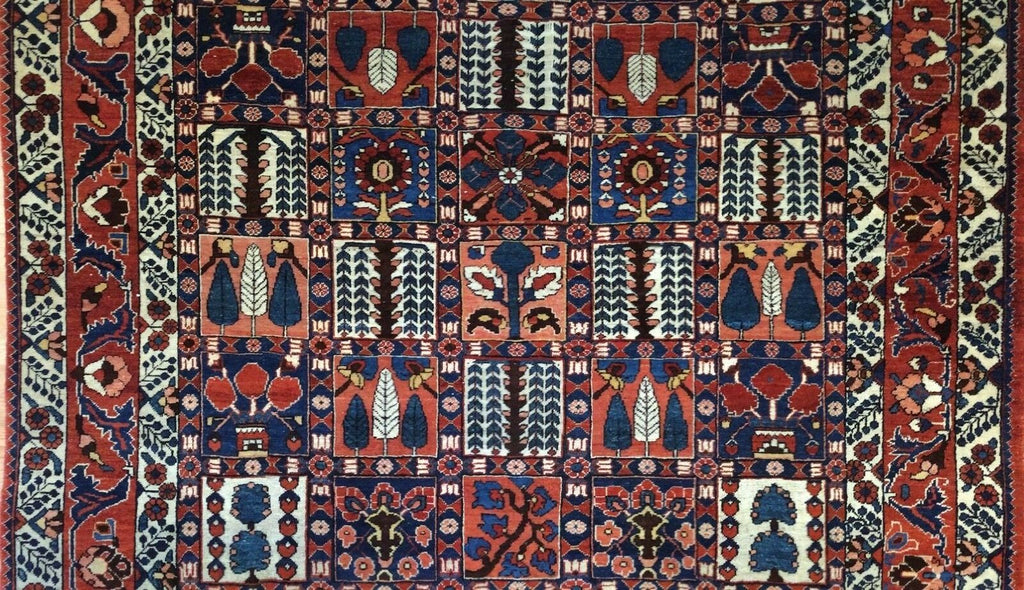 "Beautiful Bakhtiari - 1960s Vintage Persian Rug - Panel Carpet - 6'8"" x 9'9"" ft."