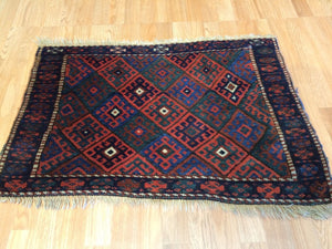 "Jovial Jaff - 1900s Antique Kurdish Tribal Rug - Bag Face Carpet - 2'2"" x 3'2"" ft."