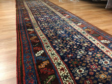 "Load image into Gallery viewer, Tremendous Tribal - 1900s Antique Kurdish Runner - Persian Rug - 3'6"" x 14'7"" ft."