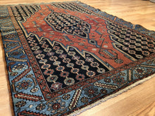 "Load image into Gallery viewer, Majestic Mazleghan - 1940s Antique Persian Rug - Tribal Carpet - 4'4"" x 6'3"" ft."