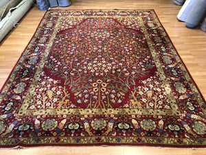 "Tremendous Tetex - 1940s Antique German Rug - Hooked Carpet - 8'3"" x 10'9"" ft."