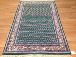 Miraculous Mir - Floral Rug - Green Oriental Indian Carpet - 3' x 5' ft.