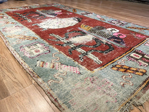 "Sensational Samarkand - 1880s Antique Khotan Rug - Tribal Carpet - 5'3"" x 8'9"" ft."