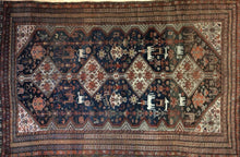 "Load image into Gallery viewer, Quality Qashqai - 1900s Antique Shiraz Rug - Tribal Carpet - 4'7"" x 7'5"" ft."