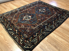 "Load image into Gallery viewer, Special Shiraz - 1910s Antique Persian Rug - Tribal Carpet - 5' x 6'3"" ft."