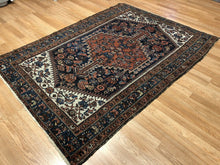 "Load image into Gallery viewer, Handsome Hamadan - 1920s Antique Persian Rug - Tribal Carpet - 4'5"" x 6'2"" ft."