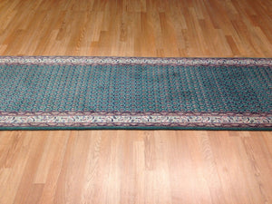 "Genuine Green - Floral Mir Design Rug - Oriental Indian Runner 2'6"" x 11'3"" ft."