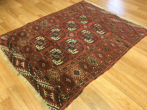 "Tremendous Turkmen - 1910s Tekke Gul Bokhara Rug - Tribal Carpet - 3'8"" x 4'6"" ft"