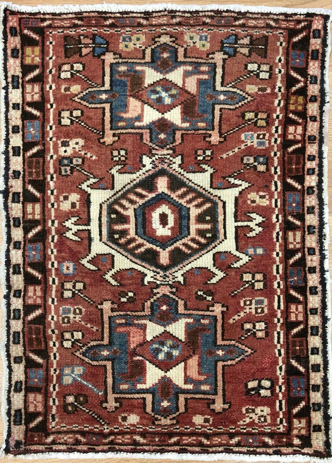Handsome Heriz - 1930s Antique Karaja Rug - Tribal Carpet - 1'10