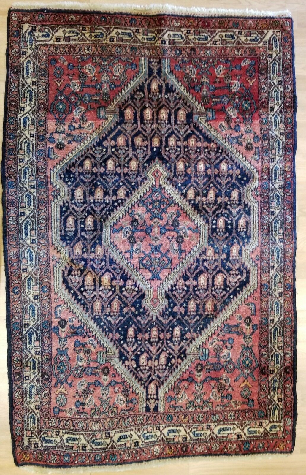 Spectacular Senneh - 1920s Antique Oriental Rug - Nomadic Carpet - 3'9