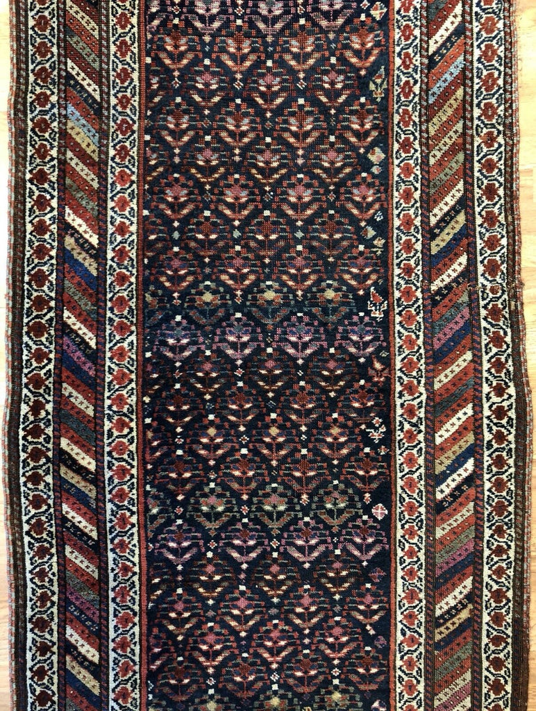 "Tremendous Tribal - 1910s Antique Kurdish Runner - Persian Rug - 3'5"" x 14'2"" ft."