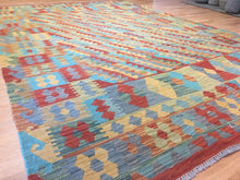 "Load image into Gallery viewer, Crisp Colorful - New Kilim Rug - Flatweave Tribal Carpet - 6'9"" x 9'10"" ft."