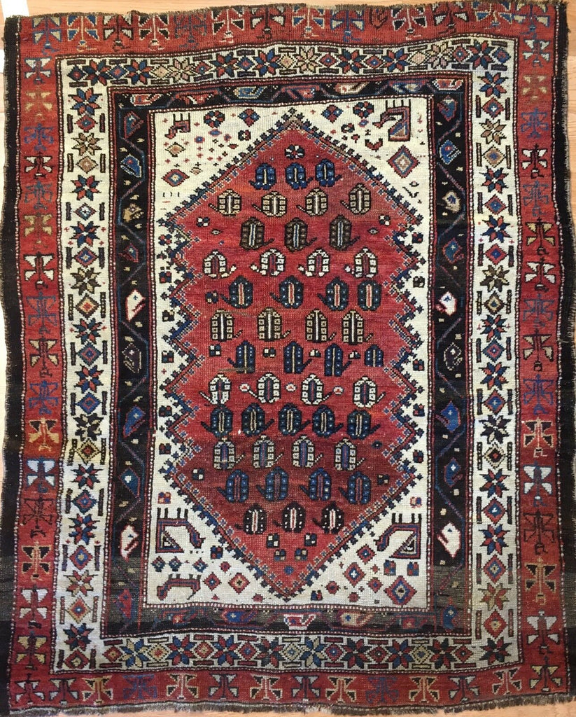 "Terrific Tribal - 1910s Antique Kurdish Rug - Oriental Carpet - 4' x 4'9"" ft."
