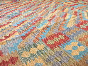 "Crisp Colorful - New Kilim Rug - Flatweave Tribal Carpet - 6'9"" x 9'10"" ft."
