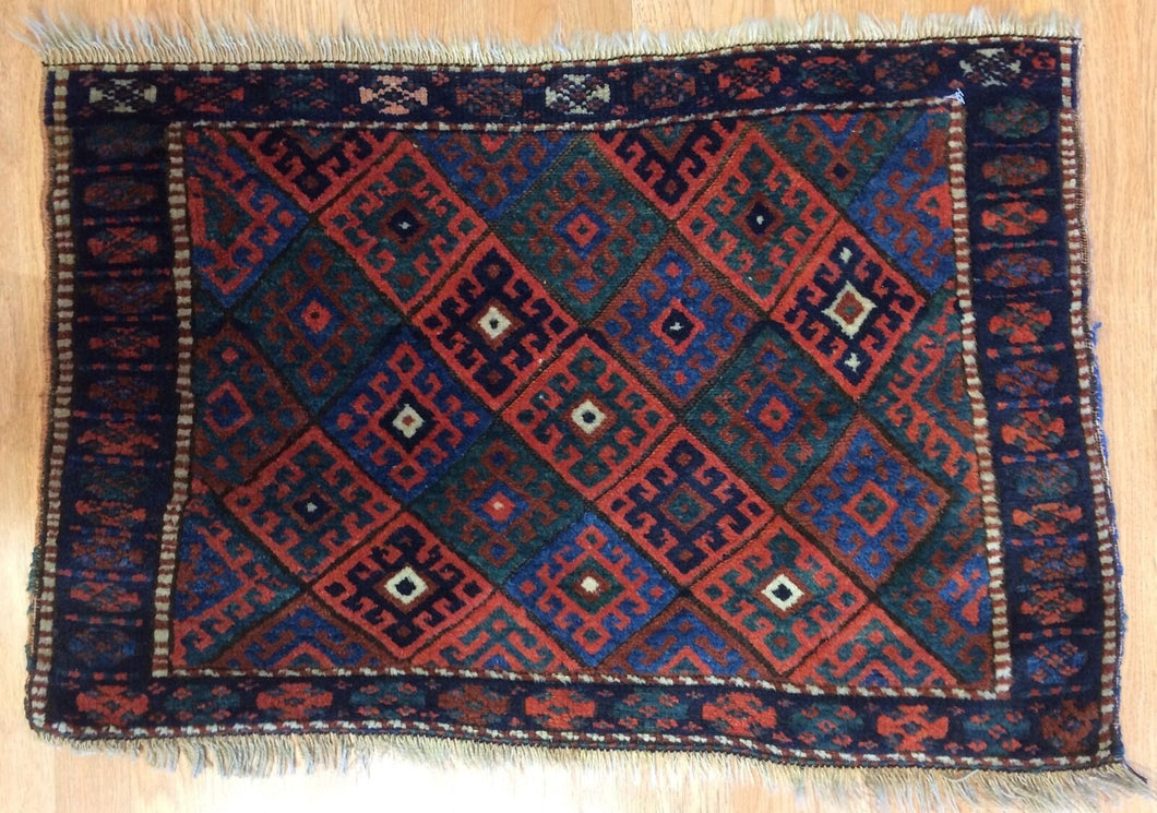 Jovial Jaff - 1900s Antique Kurdish Tribal Rug - Bag Face Carpet - 2'2
