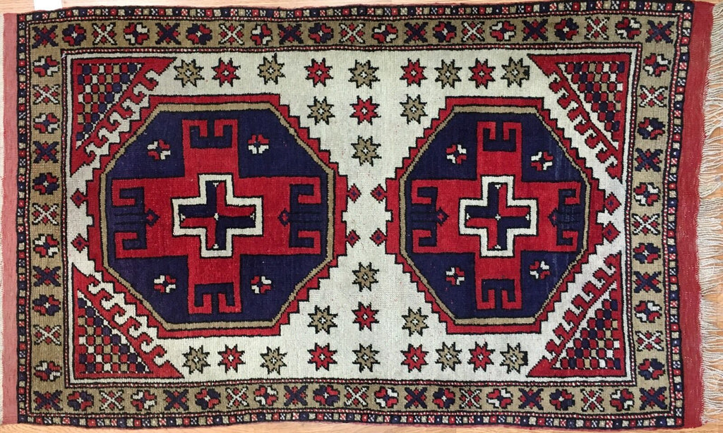"Youthful Yoruk - 1940s Vintage Armenian Rug - Tribal Turkish - 2'5"" x 4'2"" ft."