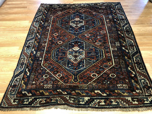 "Special Shiraz - 1910s Antique Persian Rug - Tribal Carpet - 5' x 6'3"" ft."
