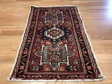 "Load image into Gallery viewer, Handsome Heriz - 1930s Antique Karaja Rug -  Tribal Carpet - 1'10"" x 2'8"" ft."
