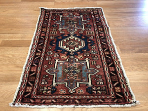 "Handsome Heriz - 1930s Antique Karaja Rug -  Tribal Carpet - 1'10"" x 2'8"" ft."