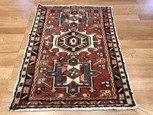 "Load image into Gallery viewer, Handsome Heriz - 1930s Antique Karaja Rug - Tribal Carpet - 1'10"" x 2'7"" ft."
