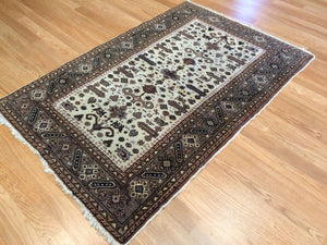 "Amazing Ardebil - 1960s Vintage Persian Rug - Tribal Carpet - 3' x 4'5"" ft."
