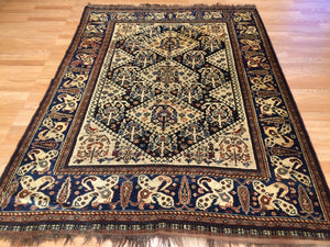 "Special Shiraz - 1880s Antique Persian Rug - Tribal Carpet - 4'8"" x 6'2"" ft."