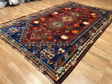 "Load image into Gallery viewer, Special Shiraz - 1940s Antique Persian Rug - Tribal Carpet - 5'6"" x 8'7"" ft."