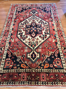 "Beautiful Bakhtiari - 1930s Antique Persian Rug - Tribal Carpet - 5'1"" x 8'2"" ft."