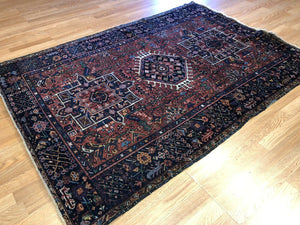 "Handsome Heriz - 1930s Antique Karaja Rug - Tribal Carpet - 4'4"" x 6'3"" ft."