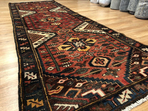 "Handsome Hamadan - 1930s Antique Persian Rug - Tribal Runner - 3'6"" x 9'10"" ft."