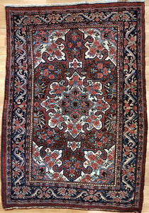 "Gorgeous Gol Farang - 1910s Antique Bijar Rug - Tribal Carpet - 3'7"" x 5'2"" ft."