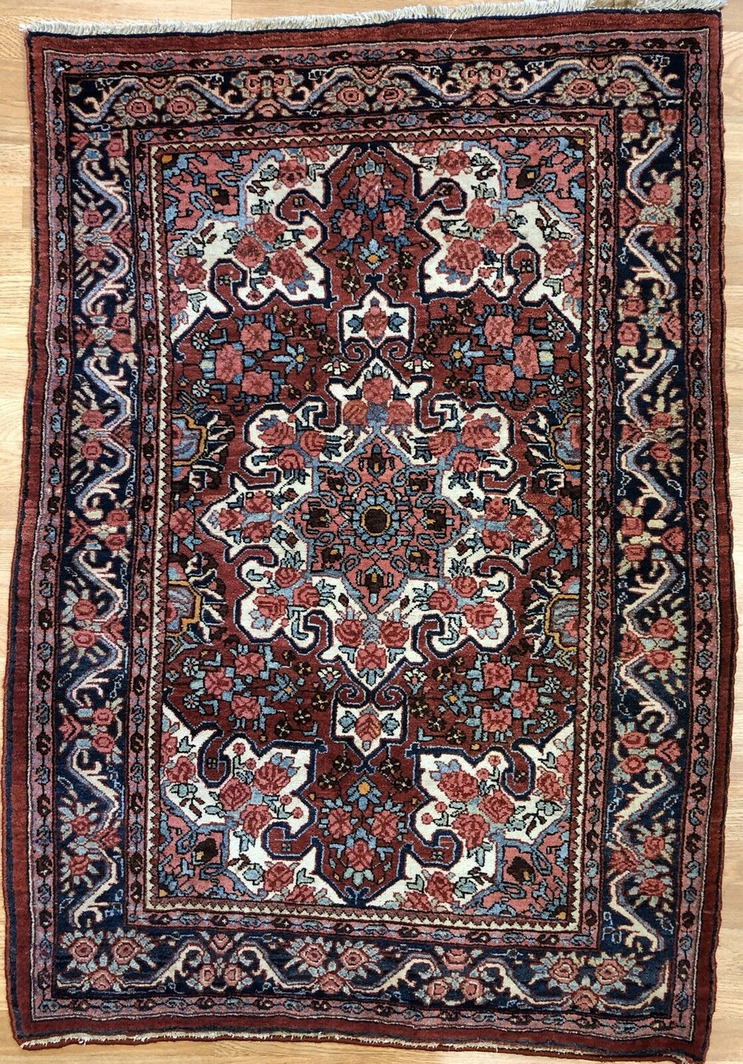 Gorgeous Gol Farang - 1910s Antique Bijar Rug - Tribal Carpet - 3'7