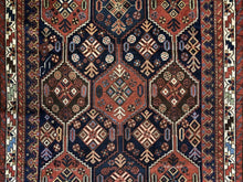 "Load image into Gallery viewer, Perfect Persian - 1940s Antique Kurdish Rug - Tribal Carpet - 4'8"" x 6'3"" ft."